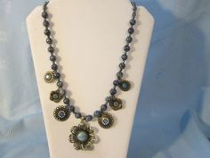 """Semi-Precious Demin Blue  Lapis Statement Necklace - Hook/Loop Closure - with Bronze & Blue Flower Pendants - Length 22 """" by LsFindsandCreations on Etsy"""