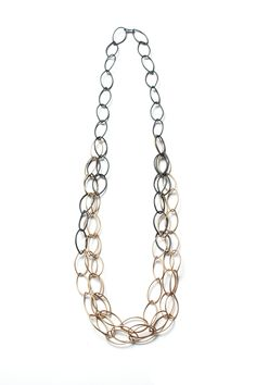 long bronze and steel shift necklace - sample sale