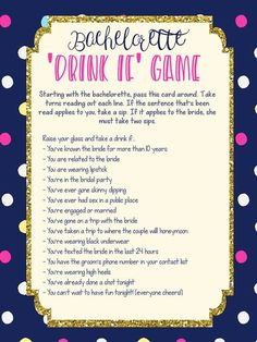 Party favors are a great idea too. Bachelorette parties concentrate on various types of activities. A bachelorette party is a great deal of fun! Should you be likely to host a bachelorette party, then you must settle on a theme… Continue Reading → Bachelorette Drinking Games, Bachelorette Weekend, Bachelorette Party Shirts, Bachelorette Ideas, Bachelorette Party Scavenger Hunt, Bachelorette Party Checklist, Bachelorette Decorations, Bachelorette Party Playlist, Bachelorette Parties