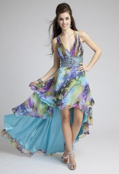 Prom Dresses 2013 - Printed Chiffon High-Low Prom Dress from Camille La Vie and Group USA