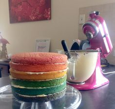 {The Organised Housewife} How to make a Layered Rainbow Cake 7
