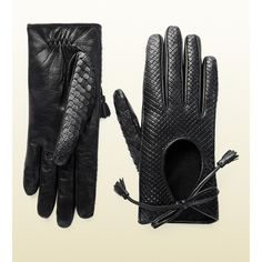 Gucci python gloves with tassels ($349) ❤ liked on Polyvore featuring accessories, gloves, black, knit & leather gloves, black leather gloves, gucci gloves, leather gloves, black gloves and gucci