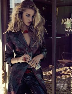 Supermodel Rosie Huntington-Whiteley takes the cover story of Vogue Brazil with a story by Henrique Gendre featuring Luis Fiods eye-catching styling.