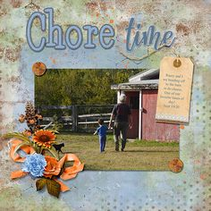 Raury and I are off to the barn to do chores Page Borders, Fence Design, Easy Install, Paint Shop, Photoshop Elements, Vacation Trips, Photo Book, Digital Scrapbooking, Design Elements