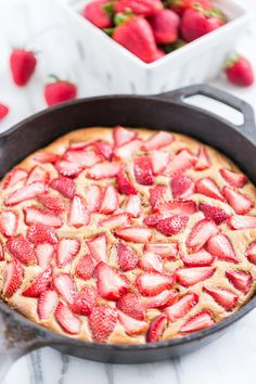 Strawberry Skillet Shortcake, Best Skillet Dessert Recipes via Pretty My Party