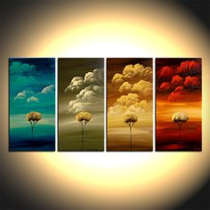 Four Seasons Art  Tree Painting on Canvas ORIGINAL by OsnatFineArt, $960.00