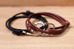 Miansai's bracelets are simple enough to be the perfect male complement. Just rope or leather with a hook. Trendy touch