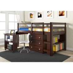 Donco Kids Low Study Loft - Bunk Beds & Loft Beds at Hayneedle