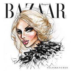 Instagram media by elistjohn - Just add sparkle. #elisketches #harpersbazaar #fashionillustration