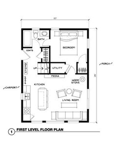 Ranch House Plans maybe the kitchen on the inside wall in the center of the room? ~ Great pin! For Oahu architectural design visit http://ownerbuiltdesign.com