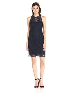 Nanette Lepore Womens Antique Lace Shift Navy 8 *** To view further for this item, visit the image link.