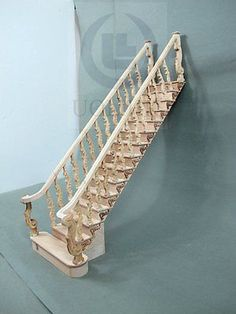 Miniature-1-12-Scale-Grand-Wooden-Staircase-Unfinished