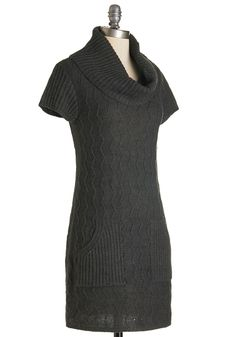 Knit Beyond Measure Dress in Charcoal. On crisp, breezy days, this charcoal sweater dress is your greatest treasure. #grey #modcloth