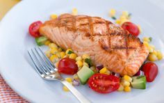 grilled salmon w/ sweet corn and avocado salad