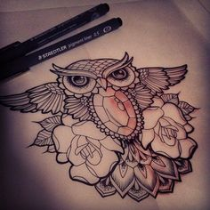 native american owl in a polynesian style  with old school tattoo style roses