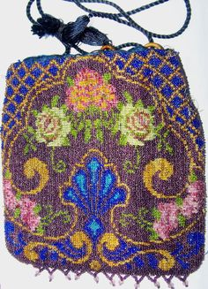 Floral Glass Beaded Drawstring Reticule Purse Flower Shell Pattern   # Vintage #Drawstring #Reticule #Purse Offered by Ruby Lane Shop Cousins Antiques