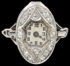 Ring Place of origin: London, England (made) Date: ca. 1925 (made) Artist/Maker: Fishberg, Nathan (maker) Materials and Techniques: Platinum with rose-cut and brilliant-cut diamonds Antique Watches, Antique Rings, Vintage Watches, Antique Jewelry, Vintage Jewelry, Art Deco Watch, Art Deco Ring, Art Deco Jewelry, Ring Watch