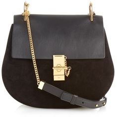Chloé Drew medium leather and suede shoulder bag ($1,938) ❤ liked on Polyvore featuring bags, handbags, shoulder bags, borse, purses, black, suede handbags, genuine leather handbags, black suede handbag and leather handbags