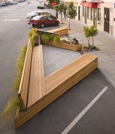Noriega Street Parklet By Matarozzi Pelsinger Design Build - Matarozzi Pelsinger Design Build Designed This Modern Parklet For Sitting Eating And Playing Replacing Three Parking Spaces On A Street In San Francisco California Project Description The Sit Urban Furniture, Street Furniture, Furniture Legs, Garden Furniture, Furniture Design, Furniture Projects, Furniture Stores, Cheap Furniture, Wood Projects