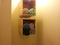 Towel storage. Got the baskets from IKEA & idea from another user on pinterest & only took hubs like 10min to put them up!