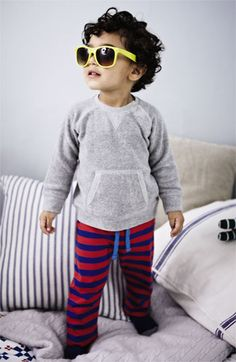 Mini Boden Sweater & Jersey Pants.  comfy and adorable.  Love the sunglasses too.