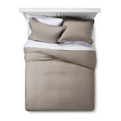 Matching duvet cover and 2 pillow shams create a cohesive look. linen material is soft and breathable throughout the night. Grey Duvet Set, Duvet Sets, Duvet Cover Sets, Sour Cream, Best Duvet Covers, Target, Linen Duvet, Luxury Bedding Sets, Cozy Bed