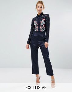 Get this Hope And Ivy's long jumpsuit now! Click for more details. Worldwide shipping. Hope & Ivy Occasion Jumpsuit with Embroidery - Navy: Jumpsuit by Hope and Ivy, Semi-sheer lace top, Point collar, Concealed placket, Embroidered design, Smooth woven bottoms, Pleat front detail, Straight-cut legs, Zip-back fastening, Regular fit - true to size, Dry clean, Top: 100% Nylon, Bottom: 100% Polyester, Our model wears a UK 8/EU 36/US 4 and is 174cm/5'8.5 tall, Exclusive to ASOS. Prom queens and…