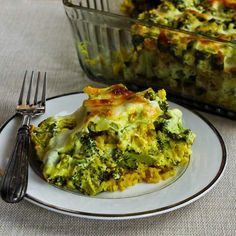 Vegetarian Curried Brown Rice and Broccoli Casserole with Creamy Curry Sauce [from Kalyn's Kitchen] #GlutenFree  #SouthBeachDiet