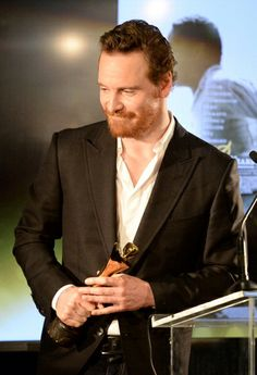 Michael Fassbender accepting his Best Supporting Actor award at the AACTA International Awards at Sunset Marquis Hotel & Villas - West Hollywood California - January 10 2014.