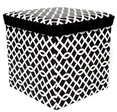 FHE Group Microsuede Folding Storage Ottoman, 16 by 16 by 16 Inches, Black/White Lattice Pattern Nursery Organization, Decoration, Small Spaces, Ottoman, Group, Black And White, Storage, Outdoor Decor, Pattern