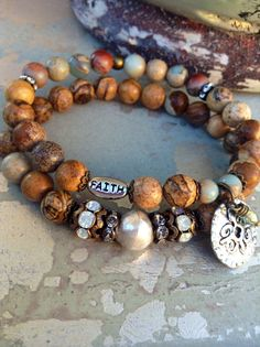 Hey, I found this really awesome Etsy listing at https://www.etsy.com/listing/210988338/rustic-beaded-jasper-bracelet-set