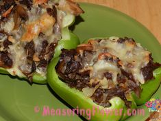 My husband's new favorite meal! Spicy Philly Cheese Steak Stuffed Green Peppers {S}