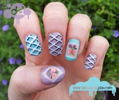 Lattice and Lavender nail art by ~deluxe digits
