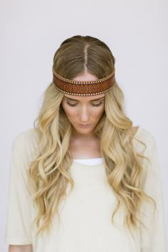 Bohemian Leather Headband Hippie Head Piece