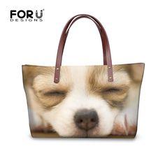 FORUDESGISNS Women Handbag Tote Shoulder Bags Large Cross-body Bag For Ladies 3D Cute Dog Huskies Printed Woman Messenger Bags