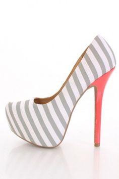 Light Grey Striped Fabric Pointy Toe   Platform Pumps Heels
