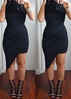 Sleeveless High Neck Black Asymmetric Dress ROS