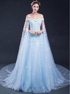 Princess Evening Dresses, Light Blue A-line/Princess Evening Dresses, A-line Long Evening Dresses, Light Sky Blue Prom Dresses  G080