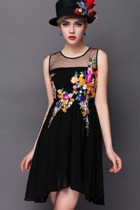 Black Sleeveless Contrast Sheer Embroidered Pleated Dress