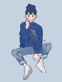Cute Boy Drawing, Cute Drawings, Cute Art Styles, Cartoon Art Styles, Character Illustration, Illustration Art, Art Illustrations, Cartoon Kunst, Estilo Anime
