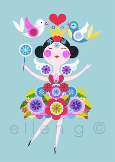 Ellen Giggenbach is a freelance designer, her mid century inspired designs appears on paper crafts, textiles, homewares, stationery products and books Folk Art Flowers, Flower Art, Retro Vintage, Soul Art, Fairy Princesses, Fairy Art, Whimsical Art, Cute Illustration, Flat Design
