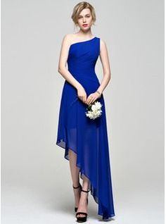 A-Line/Princess One-Shoulder Asymmetrical Chiffon Bridesmaid Dress With Ruffle (007072803) - JJsHouse