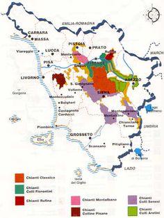 Chianti mappa enologica toscana, zone doc , zone di produzione vini doc