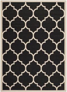 RugStudio presents Safavieh Courtyard Cy6914-266 Black / Beige Machine Woven, Good Quality Area Rug