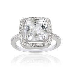 <li> Cubic zirconia square engagement ring</li><li>Sterling silver jewelry</li><li><ahref='http://www.overstock.com/downloads/pdf/2010_RingSizing.pdf'><span class='links'>Click herefor ring sizing guide</span></a></li>