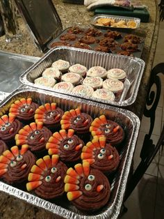 Thanksgiving turkey cupcakes, funfetti cupcakes, streusel chocolate chip and walnut muffins, mini pumpkin pies