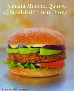 Umami Almond, Quinoa & Sundried Tomato Burgers by Dreena Burton #vegan #glutenfree