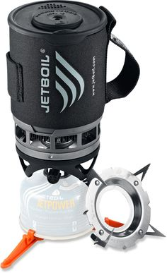 JetBoil Zip Cooking System: 0.8L includes lid with sipper side OR strainer side, as well as mount for cooking with pot/pan. Does NOT have flame adjustment though.
