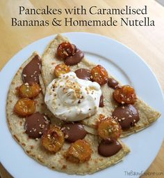 The Baking Explorer: Pancakes with Caramelised Bananas & Homemade Nutella Best Dessert Recipes, Cake Recipes, Desserts, Savoury Baking, Pancakes And Waffles, Nutella, Baked Goods, Baking Recipes, Caramel