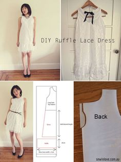 Free Sewing Pattern: Ruffled white lace dress with bow back. Find the free tutorial at: http://www.sewinlove.com.au/2013/08/15/free-pattern-ruffle-lace-dress-%E3%83%AF%E3%83%B3%E3%83%94%E3%83%BC%E3%82%B9%E4%BD%9C%E3%82%8A%E6%96%B9/